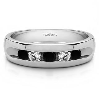 TwoBirch Sterling Silver Wide Channel Set Men's Ring With Black And White Diamonds(0.75 Cts., black, I1-I2)