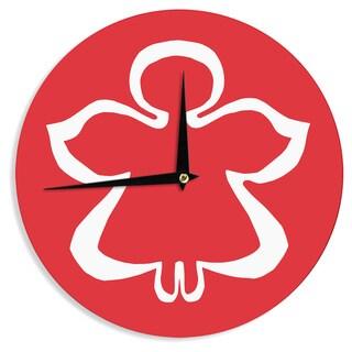 KESS InHouse Miranda Mol 'Flying Angel Red' Holiday Wall Clock