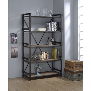 Caitlin Rustic Oak and Black Metal Bookshelf