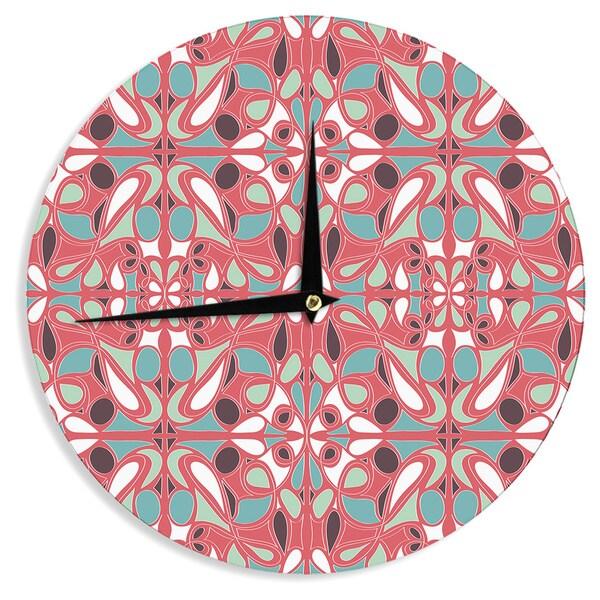 KESS InHouse Miranda Mol 'Stained Glass Pink' Wall Clock