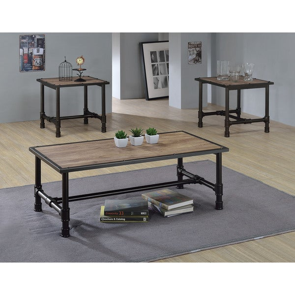 Coffee Tables And End Tables Sets Rustic End Tables: Caitlin Rustic Oak/Black Wood/MetalVeneer Coffee/End Table