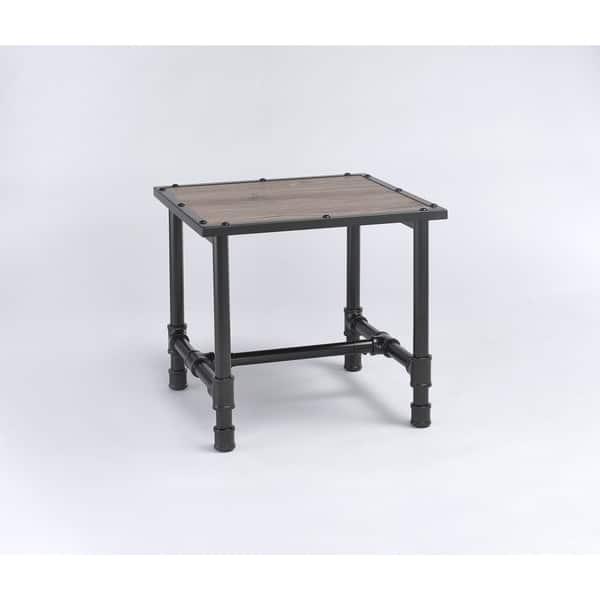 Shop Caitlin Rustic Oak Black Wood Metalveneer Coffee End Table