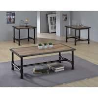 Caitlin Rustic Oak/Black Wood/MetalVeneer Coffee/End Table