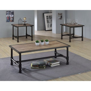 Caitlin Rustic Oak/Black Wood/MetalVeneer Coffee/End Table