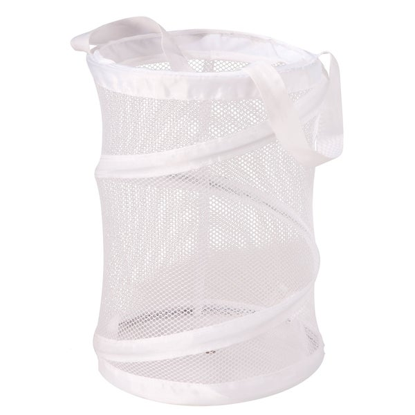 """Honey Can Do HMP-01138 8"""" X 8"""" X 12"""" White Mesh Pop Open Shower Caddy/Tote"""