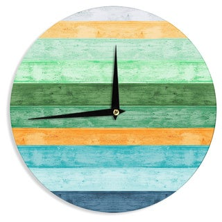 KESS InHouse Monika Strigel 'Beach Wood Blue' Wall Clock
