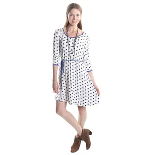 Hadari Women's 3/4 Sleeve Round Neck A-line Shift Dress