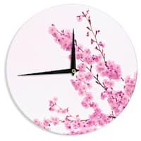 KESS InHouse Monika Strigel 'Cherry Sakura' Pink Floral Wall Clock