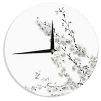 KESS InHouse Monika Strigel 'Cherry Sakura White' Floral Nature Wall Clock
