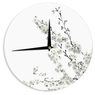 KESS InHouse Monika Strigel 'Cherry Sakura White' Floral Nature Wall Clock