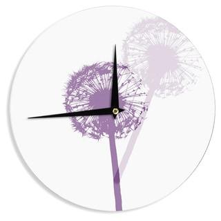 KESS InHouse Monika Strigel 'Dandelion' Purple Flower Wall Clock
