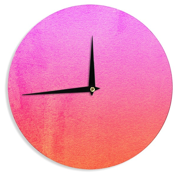 KESS InHouse Monika Strigel 'Fruit Punch' Magenta Orange Wall Clock