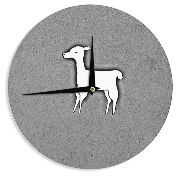 KESS InHouse Monika Strigel 'Llama One' Grey Wall Clock