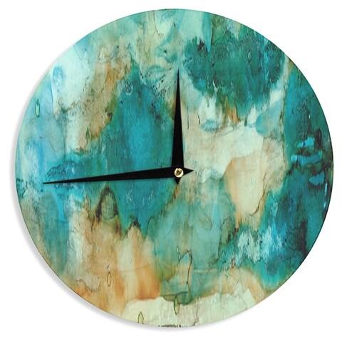 KESS InHouse Rosie Brown 'Waterfall' Teal Blue Wall Clock