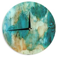 KESS InHouse Rosie Brown 'Waterfall' Teal Blue Wall Clock