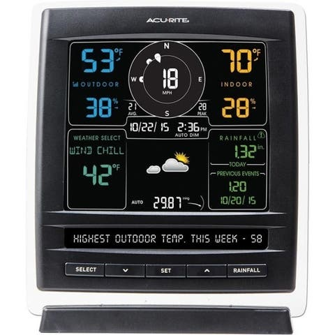 AcuRite Pro 5-in-1 Color Weather Station with Wind and Rain (Dark Theme)