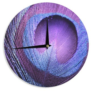 KESS InHouse Monika Strigel 'Purple Peacock' Lavender Wall Clock
