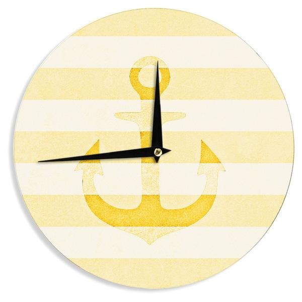 "KESS InHouse Monika Strigel 'Stone Vintage Anchor Yellow' Mustard White Wall Clock - 12"""