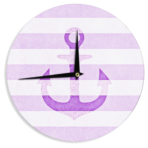 KESS InHouse Monika Strigel 'Stone Vintage Purple Anchor' Wall Clock