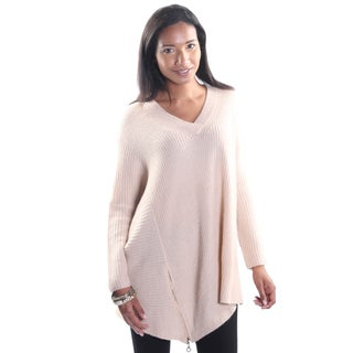 Hadari Women's Beige V-Neck Long Sleeve Casual Work Tunic Sweater