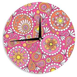 KESS InHouse Sarah Oelerich 'Paisley Pop' Orange Pink Wall Clock