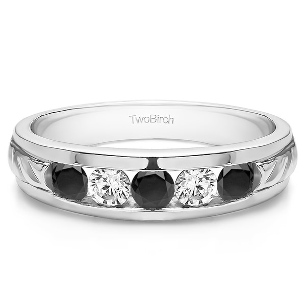Shop TwoBirch 14k White Gold Unique Men's Wedding Ring Or