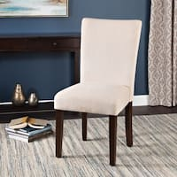 HomePop Classic Velvet Parsons Dining Chair - Light Cream (Set of 2)