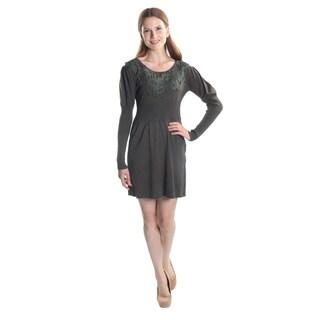 Hadari Women's Long Sleeve Round Neck A-Line Party Dress
