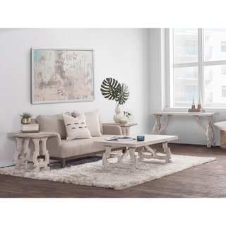 Kosas Collections Elliott Off-white Mango Wood Handcrafted Coffee Table