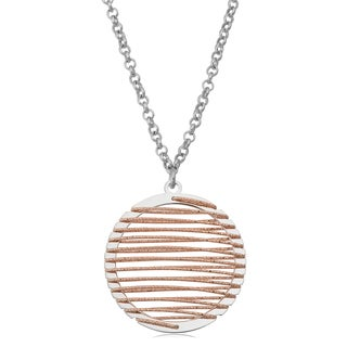 Argento Italia Rhodium and Rose Plated Sterling Silver Wire Wrapped Circle Pendant Necklace (16 inches)
