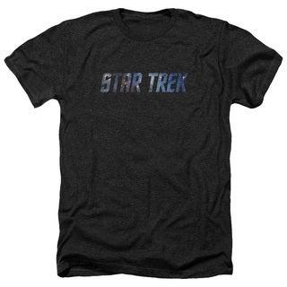 Star Trek/Space Logo Adult Heather T-Shirt in Black