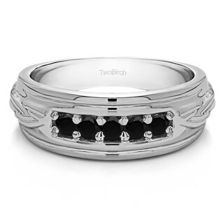 TwoBirch 10k White Gold Engraved Design Cool Mens Wedding Ring or Unique Mens' Fashion Ring With Black Diamon