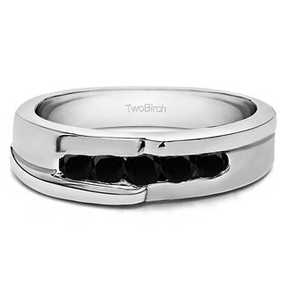 TwoBirch Sterling Silver Engraved Design Cool Mens Wedding Ring or Unique Mens' Fashion Ring With Black Diamo