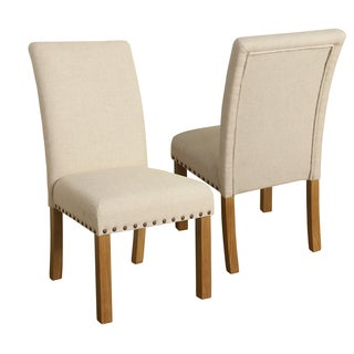 HomePop Michele Dining Chair with Nailhead Trim -Set of 2 - Natural linen