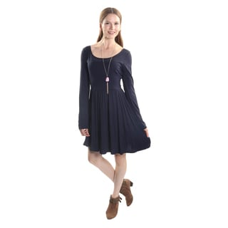 Hadari Women's Long Sleeve Scoop Neck Casual A-Line Party Dress