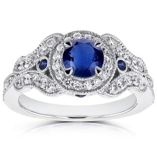 Annello 14k White Gold Sapphire and 2/5ct TDW Diamond Antique Milgrain Ring (G-H, I1-I2)