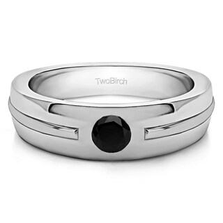 TwoBirch Sterling Silver Solitaire Mens Fashion Ring Or Mens Wedding Ring With Black Diamonds (0.2 Cts.)