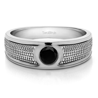 TwoBirch 14k White Gold Solitaire Mens Fashion Ring Or Mens Wedding Ring With Black Diamonds (0.25 Cts.)