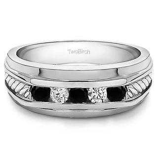 TwoBirch 10k White Gold Classic Men's Wedding Ring with Designer Shank With Black And White Diamonds(0.25 Cts