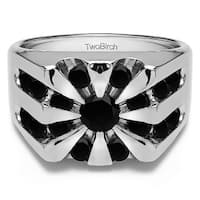 TwoBirch 10k White Gold Round Channel Set Sun Burst Style Men's Ring With Black Diamonds (0.5 Cts.)