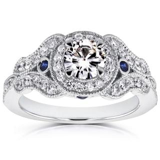 Annello 14k White Gold Moissanite and 2/5ct TDW Diamond Antique Sapphire Accent Ring (G-H, I1-I2)