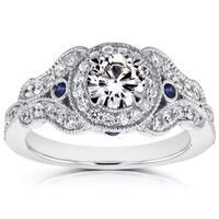 Annello by Kobelli 14k White Gold Moissanite (HI) and 2/5ct TDW Diamond Antique Sapphire Accent Ring