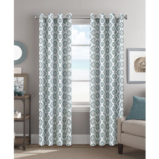 Colordrift Tribal Vibe Teal 84-inch Grommet Top Single Curtain Panel