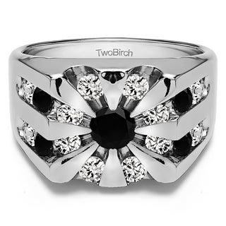 14k White Gold Round Channel Set Sun Burst Style Men's Ring With Black And White Diamonds(2.98 Cts., black, I1-I2)