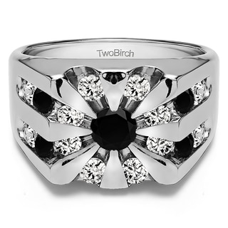 TwoBirch Sterling Silver Round Channel Set Sun Burst Style Men's Ring With Black And White Diamonds(2.98 Cts.