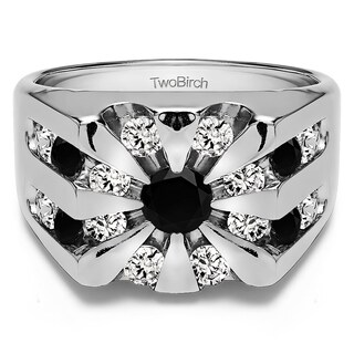 TwoBirch Sterling Silver Round Channel Set Sun Burst Style Men's Ring With Black And White Diamonds