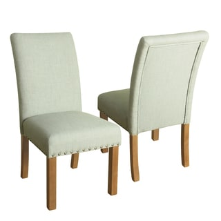 HomePop Michele Dining Chair with Nailhead Trim -Set of 2 - Pale Blue