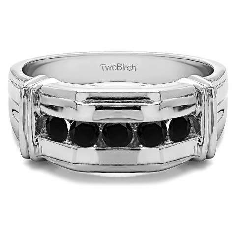 TwoBirch Sterling Silver Unique Mens Ring With Black Diamonds (0.5 Cts.)