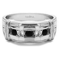 TwoBirch Sterling Silver Unique Mens Ring With Black And White Diamonds(0.5 Cts., black)