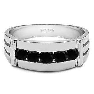 TwoBirch 10k White Gold Channel Set Men's Ring With Bars With Black Diamonds (0.17 Cts.)